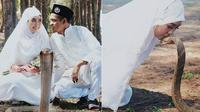 (Foto: © Takoball/ Twitter) Pasangan asal malaysia ini mengusung tema yang ekstrem untuk sesi foto pernikahan mereka