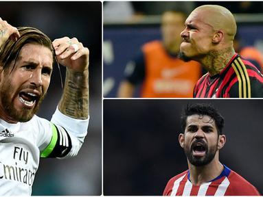 Banyak pesepak bola terkenal karena prestasi mereka di lapangan hijau. Namun, ada juga pemain terkenal karena kekasaran mereka saat bermain. Berikut pemain sepak bola yang dikenal kasar saat bermain di lapangan. (kolase foto AFP)