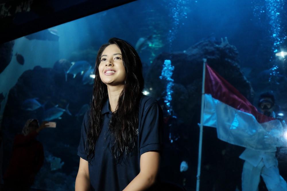 Seaworld Ancol merayakan HUT RI 72 dengan pengibaran bendera di bawah laut