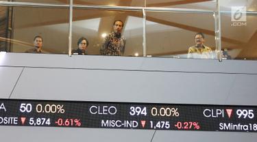 Presiden Joko Widodo didampingi Menteri Keuangan Sri Mulyani saat melihat pergerakan IHSG pasca Idul Fitri di Bursa Efek Indonsia, Jakarta, Selasa (4/7). (Liputan6.com/Angga Yuniar)