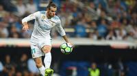 Pemain Real Madrid asal Wales, Gareth Bale hingga saat ini baru mencetak empat gol untuk Los Blancos. Gol tersebut sama dengan dua rekannya yakni Casemiro dan Borja Mayoral. (AFP/Gabriel Bouys)