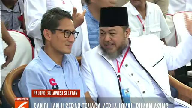 Sandiaga juga akan membuka 2 juta lapangan kerja baru melalui program OK OCE bila Prabowo-Sandi terpilih sebagai presiden dan wakil presiden.