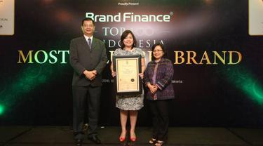 Corporate Secretary PT Elang Mahkota Teknologi Tbk (Emtek Group) Monika Ida Krisnamurti (tengah) menerima penghargaan dari Wapimred Majalah SWA Kusnan M. Djawahir (kanan) dan Deputy Managing Director Brand Finance Indonesia Jimmy Halim, Kamis (21/7/2016).