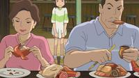 Cuplikan adegan di animasi Studio Ghibli, Spirited Away. (dok. Twitter @MaroYonebayashi)