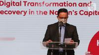 Gubernur DKI Jakarta, Anies Baswedan memberi sambutan pada peluncuran layanan 5G Indosat Ooredoo di Jakarta Kamis (26/8/2021). (Liputan6.com/Fery Pradolo)
