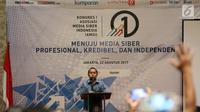 Ketua Umum Presidium AMSI Wenseslaus Manggut memberikan sambutan saat membuka kongres Asosiasi Media Siber Indonesia (AMSI) di Jakarta, Selasa (22/8). Kongres pertama AMSI tersebut dibuka oleh Wakil Presiden Jusuf Kalla. (Liputan6.com/Johan Tallo)