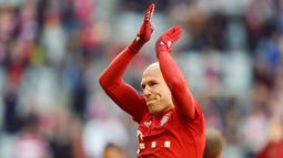 2. Arjen Robben (Bayern Munchen) - Pemain yang menginjak usia 35 tahun itu dipastikan akan meninggalkan Allianz Arena di akhir musim ini. Selama 10 tahun membela Die Roten, Robben menyumbangkan sebanyak 18 trofi. (AFP/Christof Stache)