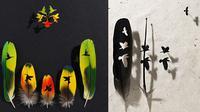 Chris Maynars sukses hasilkan karya seni cantik dan indah hanya dengan menggunakan bulu burung.