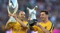 3. Andres Iniesta - Messi dan Iniesta bermain bersama selama satu dekade di level klub. Gelar Liga Champions terakhir Messi di Barcelona diraih ketika Iniesta berada di puncak performanya. Tak diragukan lagi, Barcelona sangat merindukan servis brilian ala Iniesta. (AFP/Josep Lago)