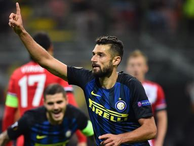 Taklukkan Southampton 1-0, Inter Milan masih juru kunci Grup K Liga Europa dalam laga di Stadion Giuseppe Meazza, Milan, Jumat (21/10/2016) dini hari WIB. Antonio Candreva mencetak gol kemenangan Inter. (AFP/Giuseppe Cacace)