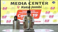 Wali Kota Jambi Sy Fasha dalam konferensi pers di Media Center Covid-19 Kota Jambi. (Liputan6.com / Humas Kota Jambi)
