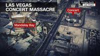 Lokasi penembakan massal Las Vegas di Amerika Serikat. (Google Earth)