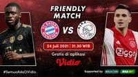Duel antar klub raksasa di Friendly Match 2021 antara Bayern Munchen vs Ajax Amsterdam akan berlangsung hari ini, Sabtu (24/7/2021) WIB di Allianz Arena, Jerman. (Sumber: Dok. vidio.com)
