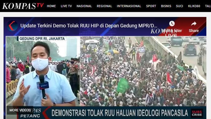 Penelusuran klaim Kompas TV tidak menyiarkan demo menolak RUU HIP