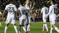 Para pemain Real Madrid rayakan gol Pepe (Reuters)