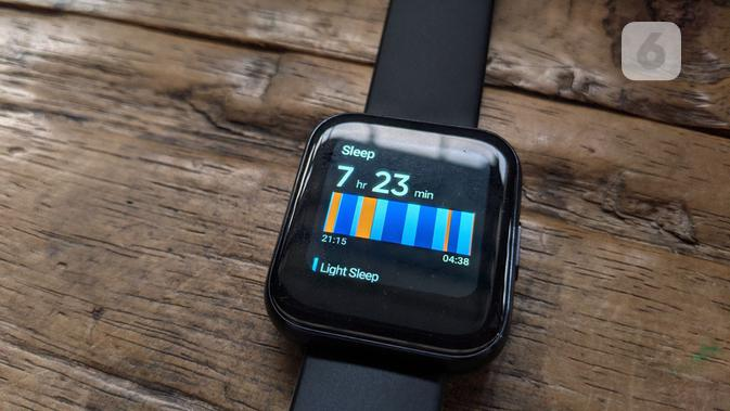 Tampilan data tidur di Realme Watch. (Liputan6.com/ Yuslianson)