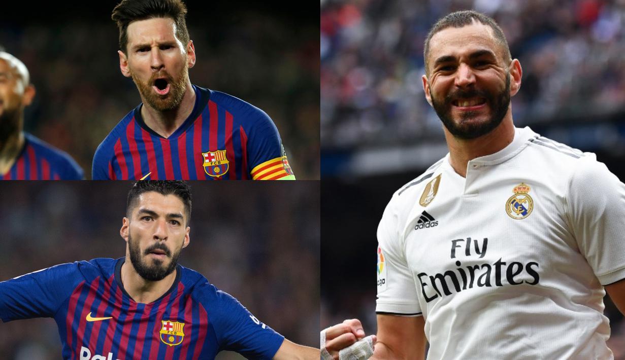 Raihan tiga gol yang dicetak Karim Benzema ke gawang Bilbao membuat bomber Real Madrid tersebut menggeser Luis Suarez di posisi kedua. Penyerang 29 tahun tersebut bisa menjadi ancaman baru untuk Lionel Messi (Kolase Foto AFP)