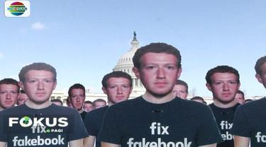Puluhan orang menggelar aksi unjuk rasa di depan gedung Capitol Hill Washington DC, Amerika Serikat, terkait bocornya jutaan data pengguna ke firma konsultan Cambridge Analytica.