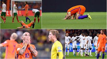 Masa kelam sepak bola Belanda setelah gagal lolos ke Piala Eropa 2016 ternyata belum berakhir. Kini Der Oranje mengalami kisah tragis lanjutan karena harus absen pada Piala Dunia 2018. (Kolase foto-foto dari AFP dan AP)