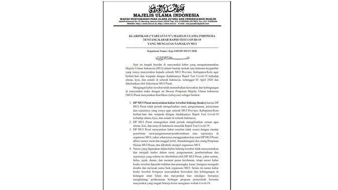 Penelusuran MUI menerbitkan surat seruan untuk ulama menolak rapid test