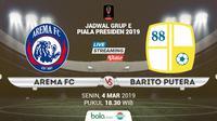 Jadwal Grup E Piala Presiden 2019, Arema FC vs Barito Putera. (Bola.com/Dody Iryawan)