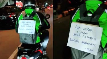Kisah ojol mudik dari Bandung ke Indramayu sambil berdalih antar makanan.