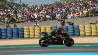 Aksi pembalap Yamaha Tech 3, Hafizh Syahrin pada balapan MotoGP Prancis 2018 di Sirkuit Le Mans. (Twitter/Yamaha Tech 3)