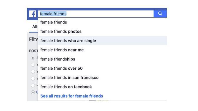 Hasil pencarian di Facebook untuk female friends (Foto: Mashable)