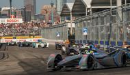 Suasana balap Formula E 2018/19 putaran 12 yang digelar di Brooklyn Street Circuit, AS, Sabtu (13/7)(AFP/David Dee Delgado)