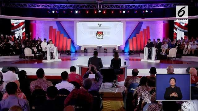 Debat perdana Pilpres 2019 sesi keempat dengan tema Hukum, HAM, Korupsi, dan Terorisme berlangsung di Hotel Bidakara, Jakarta Selatan.