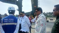 Menteri Perhubungan Budi Karya Sumadi mengunjungi Pelabuhan Pantoloan di Sulawesi Tengah. (Liputan6.com/Maulandy Rizky Bayu Kencana).