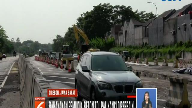 Jelang Lebaran 2019, petugas Jasamarga mengebut perbaikan jalan di Tol Palimanan-Kanci dan Jalan Nasional Brebes-Purwokerto.