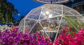 Orang-orang menyantap makanan dalam dining dome, instalasi tempat makan berbentuk kubah yang membantu mencegah penyebaran COVID-19, di Capitol Singapore Outdoor Plaza, Singapura, 21 Oktober 2020. (Xinhua/Then Chih Wey)