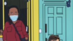 Sejumlah warga yang mengenakan masker melintasi jalan di pusat kota London, Inggris (31/10/2020). Kasus baru COVID-19 di Inggris mencapai 21.915, menambah total kasus coronavirus di negara itu menjadi 1.011.660. (Xinhua/Han Yan)