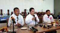 Ketua TKN KIK Jokowi-Amin Erick Thohir saat menggelar Konferensi Pers di Palembang (Liputan6.com / Nefri Inge)