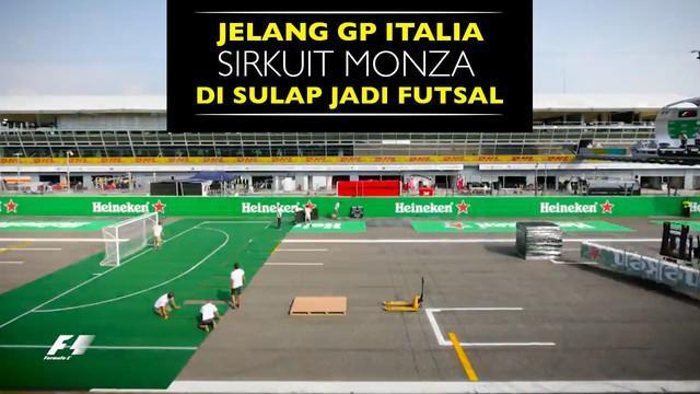 Video sirkuit Monza menjadi lapangan futsal pada laga pebalap f1 lawan mantan sepak bola untuk acara amal gempa di Italia.