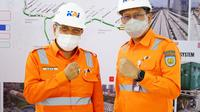 Komisaris Utama KAI Said Aqil Siradj turun langsung ke lapangan meninjau progres pengerjaan LRT Jabodebek di Stasiun LRT Harjamukti, Cibubur, Jakarta Timur, Rabu 10 Maret 2021.