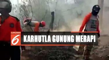 Tim pemadam gabungan yang terdiri dari BPBD, TNI, Polri dan relawan lainnya pun berjibaku memadamkan api dengan tanah dan pasir.