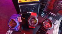 Boombox yang pernah populer pada masa 90an jadi inspirasi desain jam tangan G-Shock terbaru. Palet warna yang dihadirkan juga seakan mengulang tren masa itu. (Liputan6.com/Dinny Mutiah)
