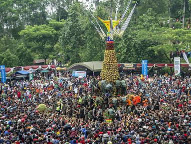 Ribuan pengunjung berebut gunungan durian saat festival Kenduren di Jombang, Jawa Timur, Minggu (3/3). Festival tersebut merupakan acara tahunan yang digelar setiap memasuki musim panen durian sebagai bentuk syukur petani kepada Tuhan (Juni Kriswanto/AFP)