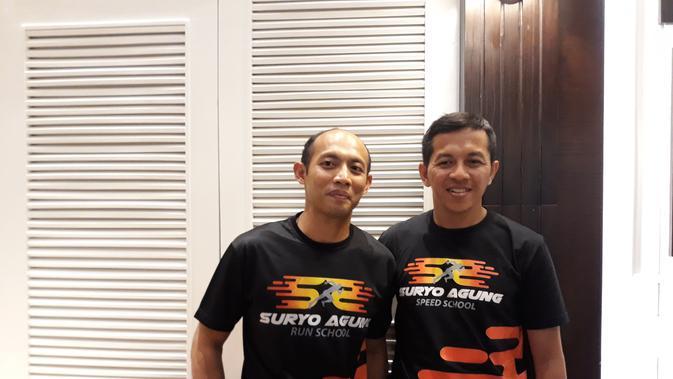 Dua pelatih di Suryo Agung Running School, Suryo Agung Wibowo dan Lucky Afari. (Bola.com/Yus Mei Sawitri)