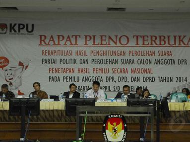 Rapat pleno terbuka rekapitulasi nasional penghitungan suara di ruang sidang utama KPU (Liputan6.com/Andrian M. Tunay)