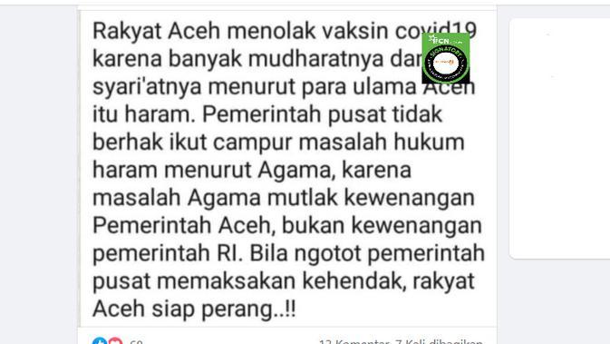 Cek Fakta Liputan6.com menelusuri klaim ulama Aceh mengharamkan vaksin Covid-19