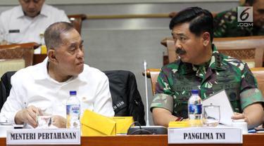 Menhan dan Panglima TNI Bahas Anggaran Bersama DPR