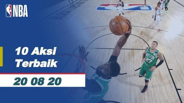 Berita video bintang Boston Celtics, Jayson Tatum, menjadi salah satu nama pemain yang masuk dalam daftar 10 aksi terbaik NBA hari ini, Kamis (20/8/2020) WIB.