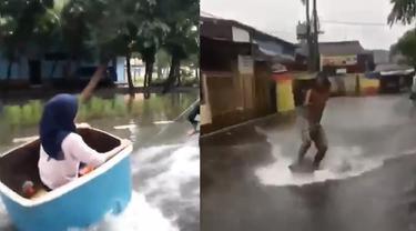 tingkah nyeleneh orang di tengah banjir