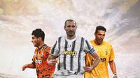 Juventus - Alvaro Morata, Giorgio Chiellini, Gianluigi Buffon (Bola.com/Adreanus Titus)