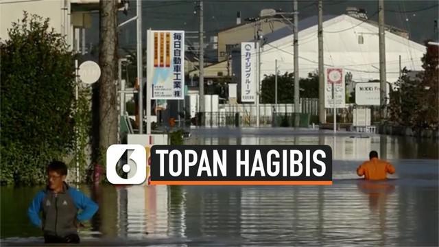 Hujan deras dan angin kencang yang dipicu topan hagibis di Jepang memakan korban jiwa. Hingga Minggu (13/10) siang korban tewas mencapai 26 orang.