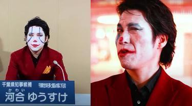 Yuusuke Kawai, mencalonkan diri sebagai gubernur di prefektur Chiba, Jepang menjadi viral di media sosial karena penampilannya yang menyerupai tokoh komik the Joker (NHK / screengrab))