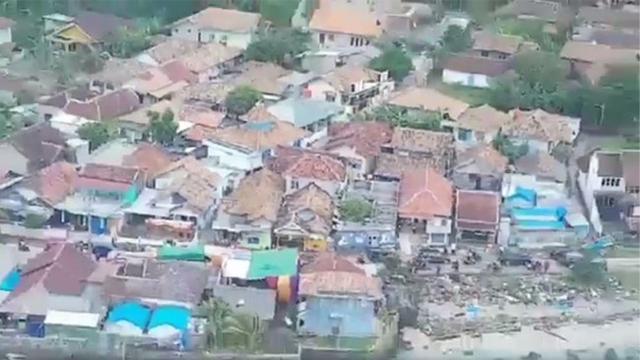 Potret Kalianda Lampung Selatan Usai Tsunami Dlihat dari Udara